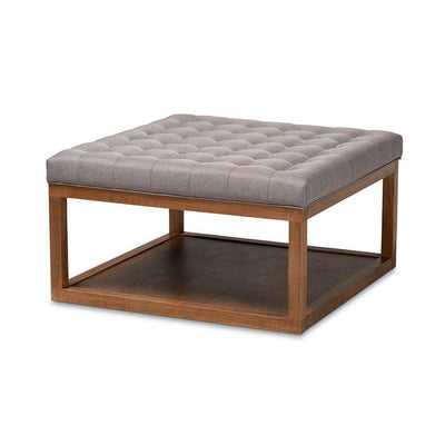 Alvere Modern and Contemporary Grey Fabric Upholstered Walnut Finished Cocktail Ottoman