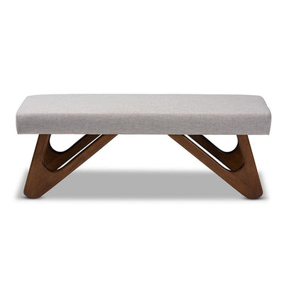 Rika Mid-Century Modern Greyish Beige Fabric Upholstered Walnut Brown Finished Boomerang Bench WHI-BBT5367-Greyish-Beige-Walnut-Bench
