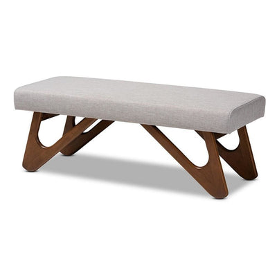 Rika Mid-Century Modern Greyish Beige Fabric Upholstered Walnut Brown Finished Boomerang Bench