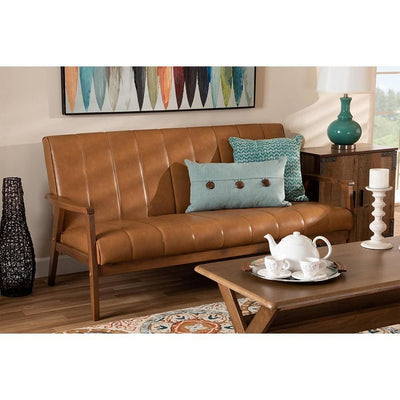 Nikko Mid-century Modern Tan Faux Leather Upholstered and Walnut Brown finished Wood Sofa WHI-BBT8011A2-Tan-Sofa