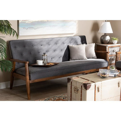 Sorrento Mid-century Modern Grey Velvet Fabric Upholstered Walnut Finished Wooden 3-seater Sofa WHI-BBT8013-Grey-Velvet-Walnut-SF