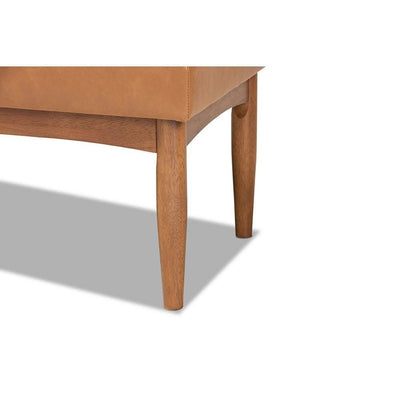 Arvid Mid-Century Modern Tan Faux Leather Upholstered and Walnut Brown Finished Wood Dining Bench WHI-BBT8051-Tan-Walnut-Bench