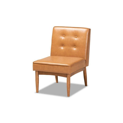 Arvid Mid-Century Modern Tan Faux Leather Upholstered and Walnut Brown Finished Wood Dining Chair