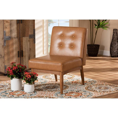 Arvid Mid-Century Modern Tan Faux Leather Upholstered and Walnut Brown Finished Wood Dining Chair WHI-BBT8051-Tan-Walnut-CC