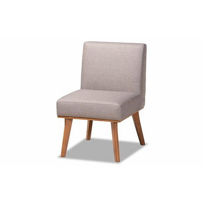 Odessa Mid-Century Modern Grey Fabric Upholstered and Walnut Brown Finished Wood Dining Chair