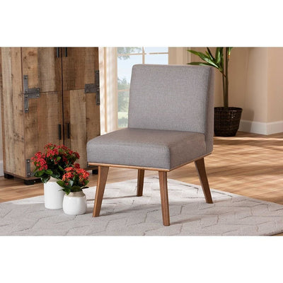 Odessa Mid-Century Modern Grey Fabric Upholstered and Walnut Brown Finished Wood Dining Chair WHI-BBT8054-Grey-Walnut-CC