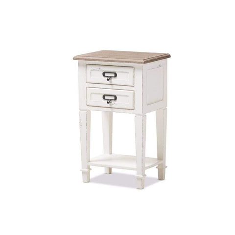 Dauphine Style Weathered Oak and White Wash Distressed Finish Wood Nightstand By Baxton Studio