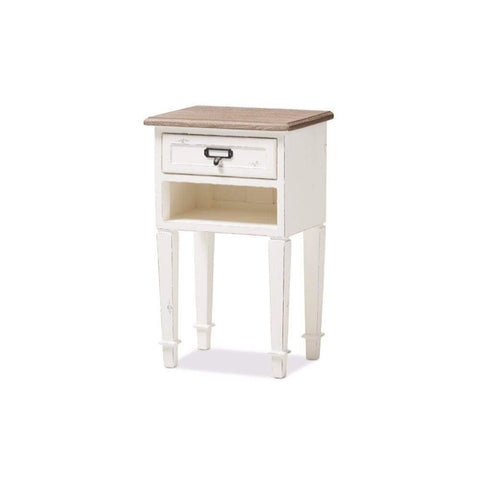 Dauphine Style Weathered Oak and White Wash Distressed Finish Wood Nightstand -Baxton Studio