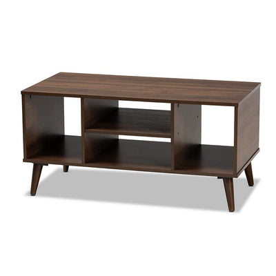 Baxton Studio Linas Mid-Century Modern Walnut Finished Coffee Table