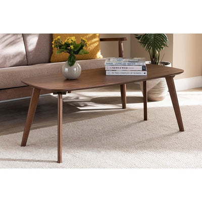 Baxton Studio Dahlia Mid-Century Modern Walnut Finished Coffee Table WHI-Dahlia-Walnut-CT
