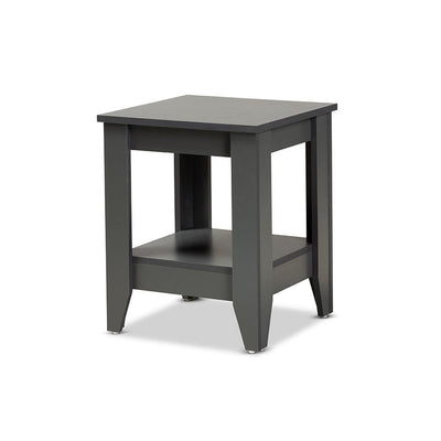 Baxton Studio Audra Modern and Contemporary Grey Finished Wood Living Room End Table