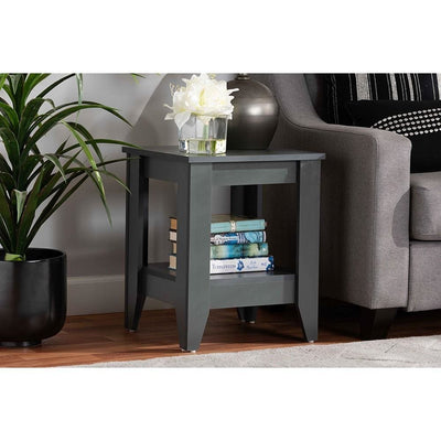 Baxton Studio Audra Modern and Contemporary Grey Finished Wood Living Room End Table WHI-ET8000-Grey-ET