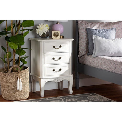Gabrielle Traditional French Country Provincial White-Finished 3-Drawer Wood Nightstand WHI-ETASW-04-White-NS