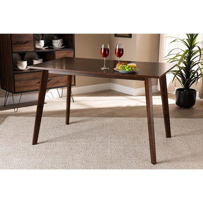 Britte Mid-Century Modern Transitional Walnut Brown Finished Rectangular Wood Dining Table WHI-Fiesta-Walnut-Rectangle-DT
