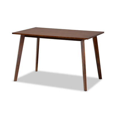 Britte Mid-Century Modern Transitional Walnut Brown Finished Rectangular Wood Dining Table