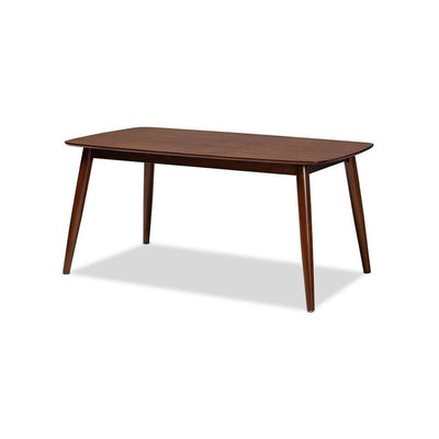Baxton Studio Edna Mid-Century Modern Walnut Finished Wood Dining Table