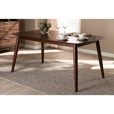 Baxton Studio Edna Mid-Century Modern Walnut Finished Wood Dining Table WHI-Flora-Walnut-DT