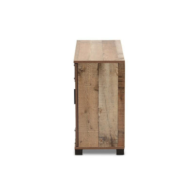 Baxton Studio Cyrille Modern and Contemporary Farmhouse Rustic Finished Wood 3-Door Shoe Cabinet WHI-ID-SC002-Yosemile-Oak-Shoe-Rack