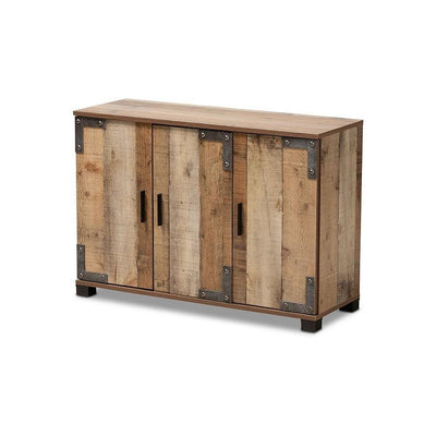 Baxton Studio Cyrille Modern and Contemporary Farmhouse Rustic Finished Wood 3-Door Shoe Cabinet