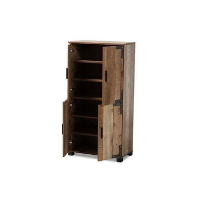 Baxton Studio Cyrille Modern and Contemporary Farmhouse Rustic Finished Wood 4-Door Shoe Cabinet WHI-ID-SC003-Yosemile-Oak-Shoe-Rack