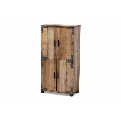 Baxton Studio Cyrille Modern and Contemporary Farmhouse Rustic Finished Wood 4-Door Shoe Cabinet