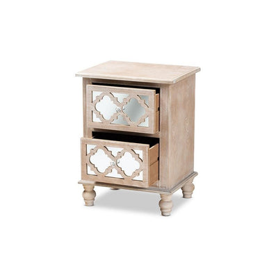 Celia Transitional Rustic French Country White-Washed Wood and Mirror 2-Drawer Quatrefoil Nightstand WHI-JY17A039-Natural-Brown-Silver-NS