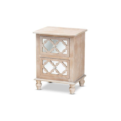 Celia Transitional Rustic French Country White-Washed Wood and Mirror 2-Drawer Quatrefoil Nightstand