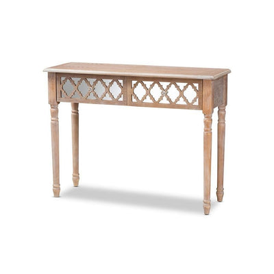 Celia Transitional Rustic French Country Wood and Mirror 2-Drawer Quatrefoil Console Table