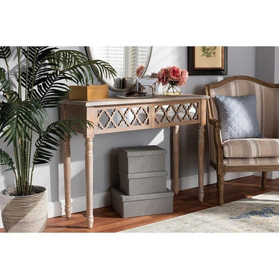 Celia Transitional Rustic French Country Wood and Mirror 2-Drawer Quatrefoil Console Table WHI-JY17A044-Natural-Brown-Silver-Console