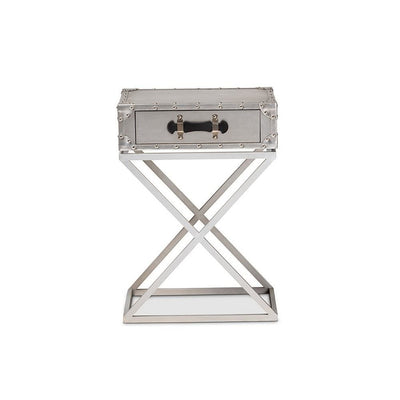 Baxton Studio William Modern French Industrial Silver Metal 1-Drawer Nightstand WHI-JY1955-NS