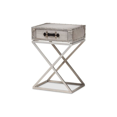 Baxton Studio William Modern French Industrial Silver Metal 1-Drawer Nightstand