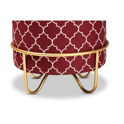 Candice Glam and Luxe Red Quatrefoil Velvet Fabric Upholstered Gold Finished Metal Ottoman WHI-JY19A255-Red-Gold-Otto