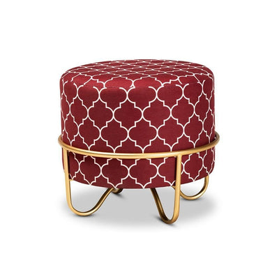 Candice Glam and Luxe Red Quatrefoil Velvet Fabric Upholstered Gold Finished Metal Ottoman