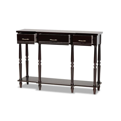 Hallan Classic and Traditional French Provincial Dark Brown Finished Wood 3-Drawer Console Table WHI-JY20A075-Espresso-Console