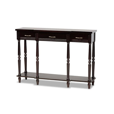 Hallan Classic and Traditional French Provincial Dark Brown Finished Wood 3-Drawer Console Table