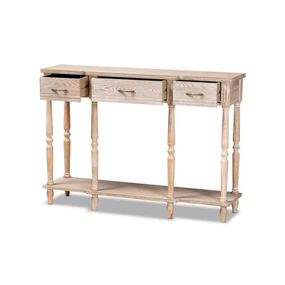 Traditional French Provincial Rustic Whitewashed Oak Brown Finished Wood 3-Drawer Console Table WHI-JY20A075-Natural-Console