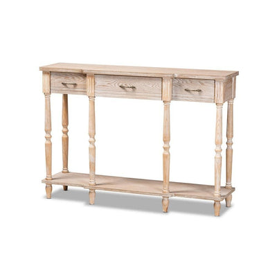 Traditional French Provincial Rustic Whitewashed Oak Brown Finished Wood 3-Drawer Console Table