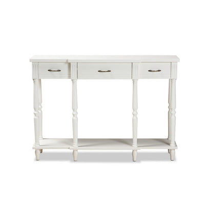 Hallan Classic and Traditional French Provincial Wood 3-Drawer Console Table WHI-JY20A075-White-Console
