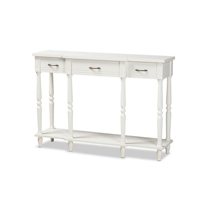 Hallan Classic and Traditional French Provincial Wood 3-Drawer Console Table