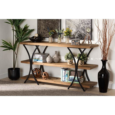 Terrell Modern Rustic and Industrial Natural Brown Finished Wood and Metal Console Table WHI-JY20A165-Natural-Black-Console