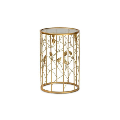 Anaya Modern and Contemporary Glam Brushed Gold Finished Metal and Glass Leaf Accent End Table WHI-JY20A251-Gold-ET