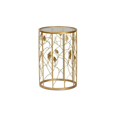 Anaya Modern and Contemporary Glam Brushed Gold Finished Metal and Glass Leaf Accent End Table