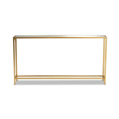Alessa Modern and Contemporary Glam Gold Finished Metal and Mirrored Glass Console Table WHI-JY20A254-Gold-Console