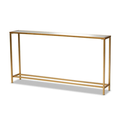 Alessa Modern and Contemporary Glam Gold Finished Metal and Mirrored Glass Console Table