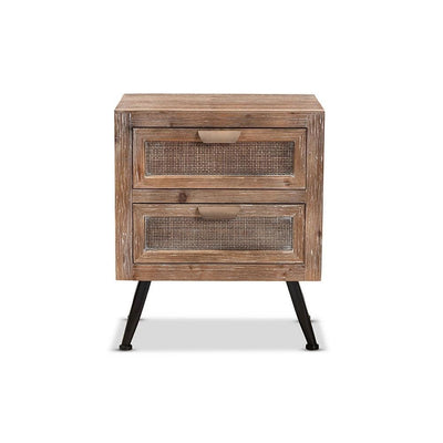 Calida Mid-Century Modern Whitewashed Natural Brown Finished Wood and Rattan 2-Drawer Nightstand WHI-JYCR19B-007-Rattan-NS