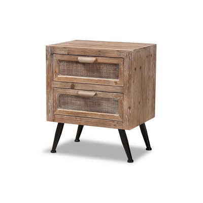 Calida Mid-Century Modern Whitewashed Natural Brown Finished Wood and Rattan 2-Drawer Nightstand