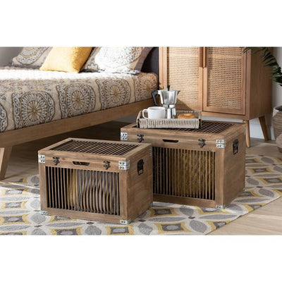 Clement Rustic Transitional Medium Oak Finished 2-Piece Wood Spindle Storage Trunk Set WHI-LD19A009-Medium-Oak-2PC-Trunk-Set
