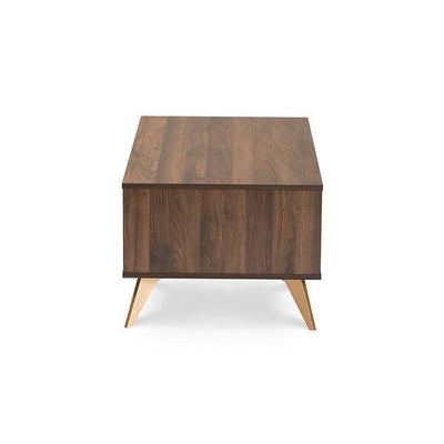 Baxton Studio Edel Mid-Century Modern Walnut Brown and Gold Finished Wood Coffee Table WHI-LV12CFT12140WI-Columbia-Gold-CT