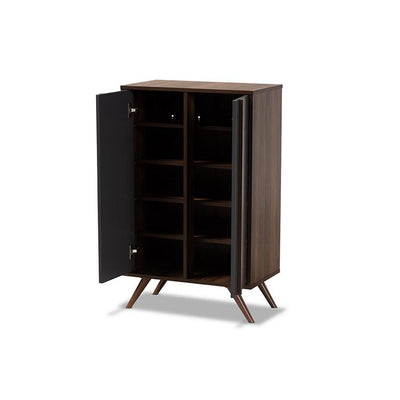 Naoki Modern and Contemporary Two-Tone Grey and Walnut Finished Wood 2-Door Shoe Cabinet WHI-LV15SC15150-Columbia-Dark-Grey-Shoe-Cabinet