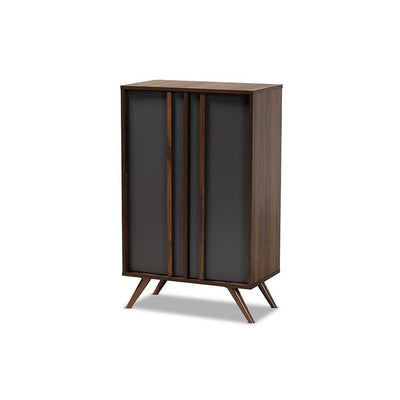 Naoki Modern and Contemporary Two-Tone Grey and Walnut Finished Wood 2-Door Shoe Cabinet